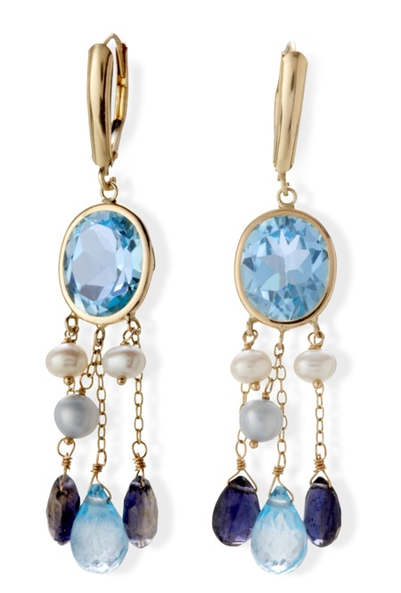 14k Gold Freshwater Pearl, Blue Topaz and Iolite Dangle Earrings