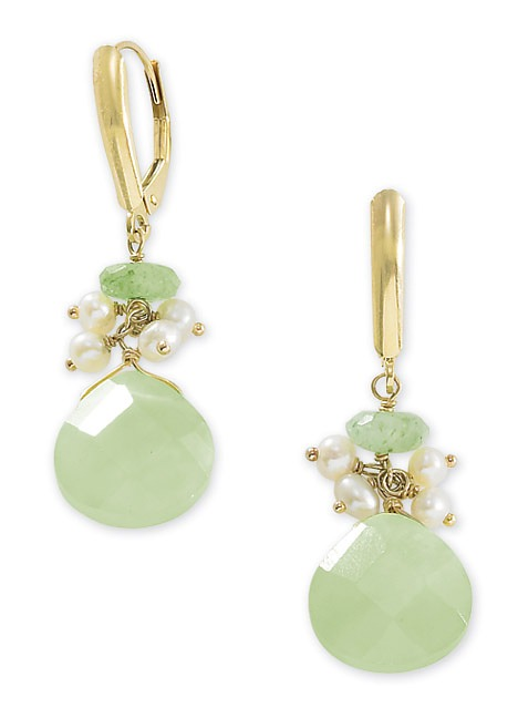 14k Gold Seed Pearl, Aventurine and Serpantine Earrings