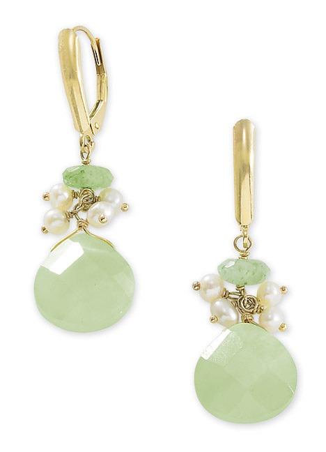 14k Gold Seed Pearl, Aventurine and Serpantine Earrings