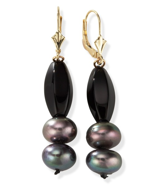 Black Onyx and Freshwater Pearl Earrings