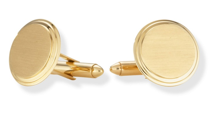 Gold Cufflinks - Engraveable 14K Gold