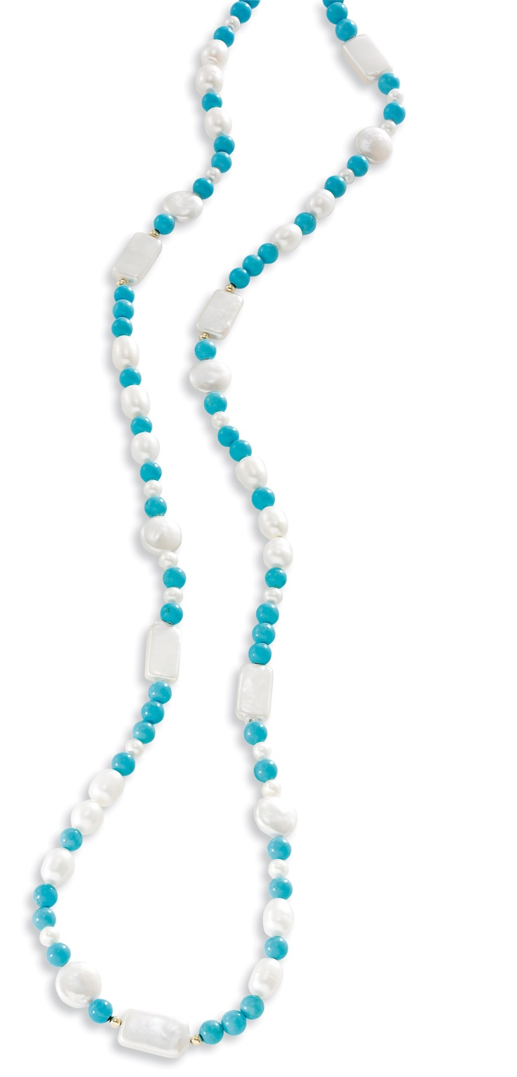 14k Gold Turquoise Necklace with Freshwater Pearls
