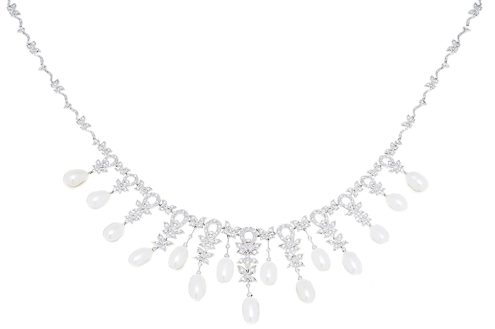18kt white gold diamond design necklace with hanging drops of fresh water pearls