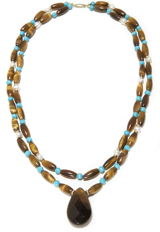14Kt Turquoise, Pearls and Tiger Eye Necklace