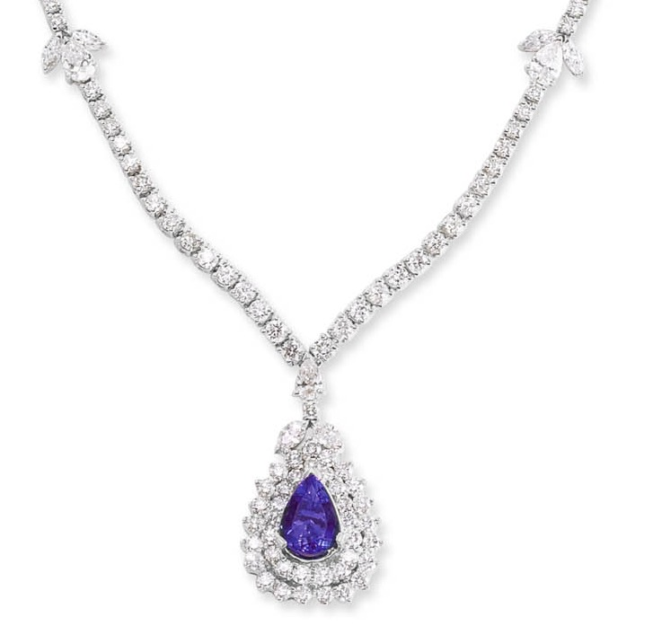 18kt white gold Diamond and Tanzanite Necklace