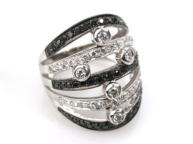 18k white gold black and white diamond abstract ring