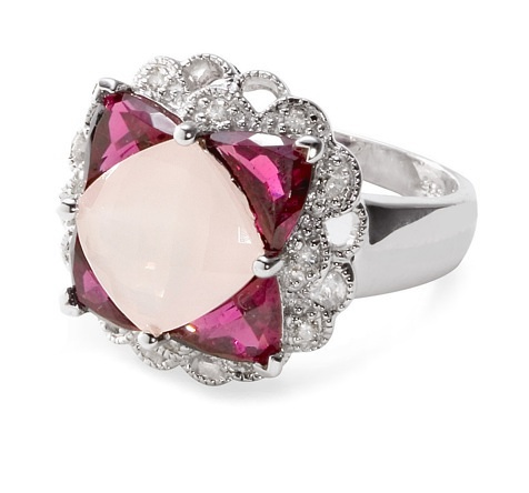 14k white gold diamond, rose quartz and garnet design ring