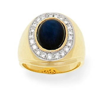 14kt Gold Diamond and Star Sapphire Ring