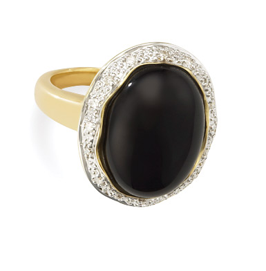 Diamond Face Watches - Oval Black Onyx And Diamond 14k Ring