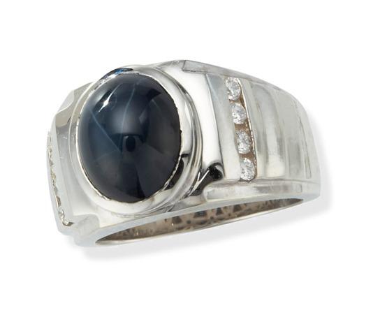 Star Sapphire Ring - Men's 14K White Gold